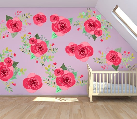 625e25db6e ... Pink Graphic Flower Wall Decal Set, Pink Rose Flower Wall Decal Set, Pretty  Pink