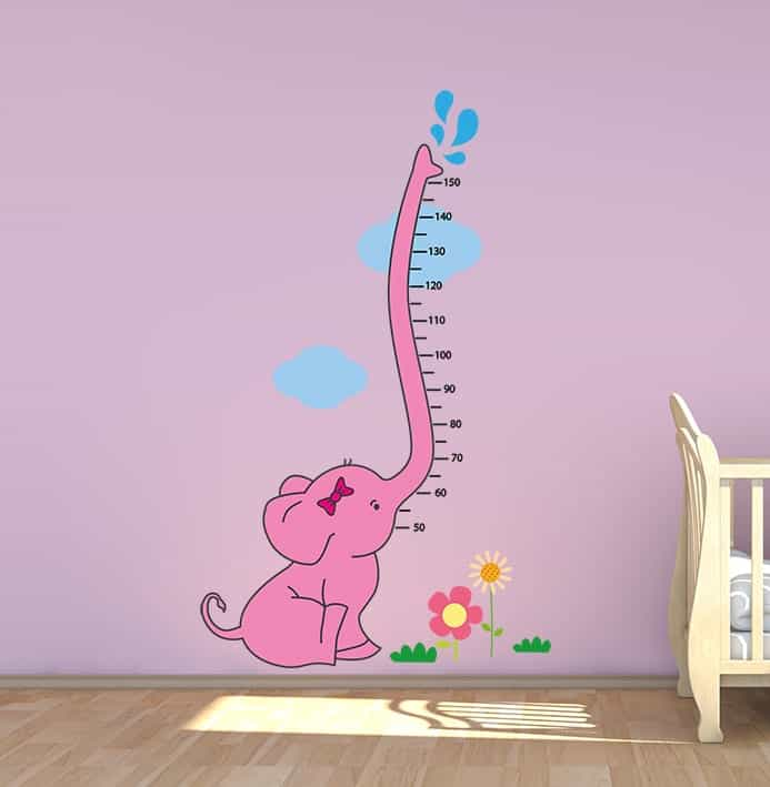 Baby Elephant Height Chart Wall Decal In Pink Or Blue