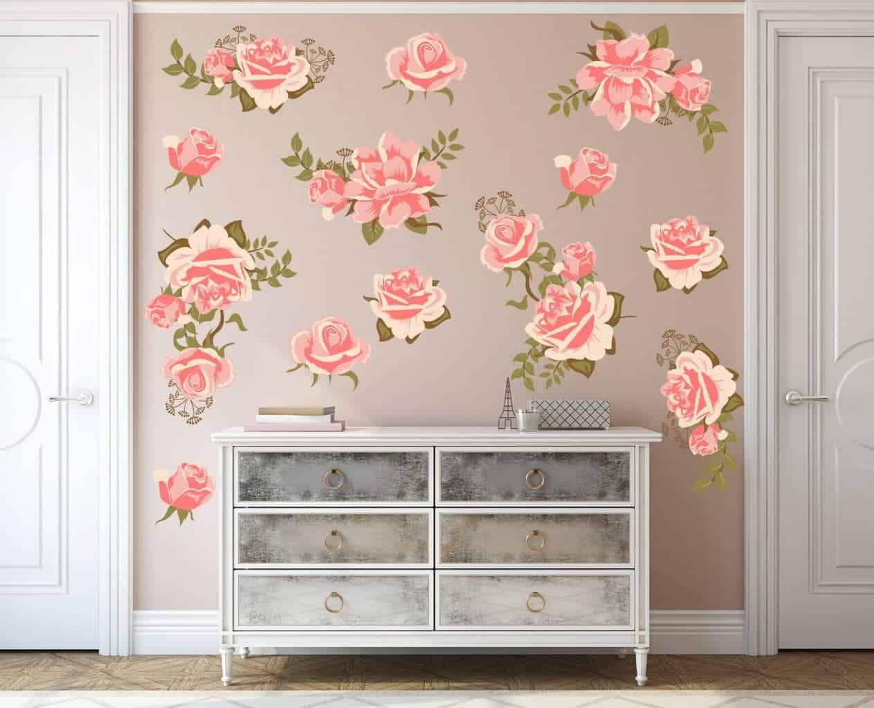 Pink Rose Flower Wall Decal Set, Pretty Pink Graphic Flower Wall Decal Set, wall decal, wall sticker, wall decals ireland, flower wall stickers,