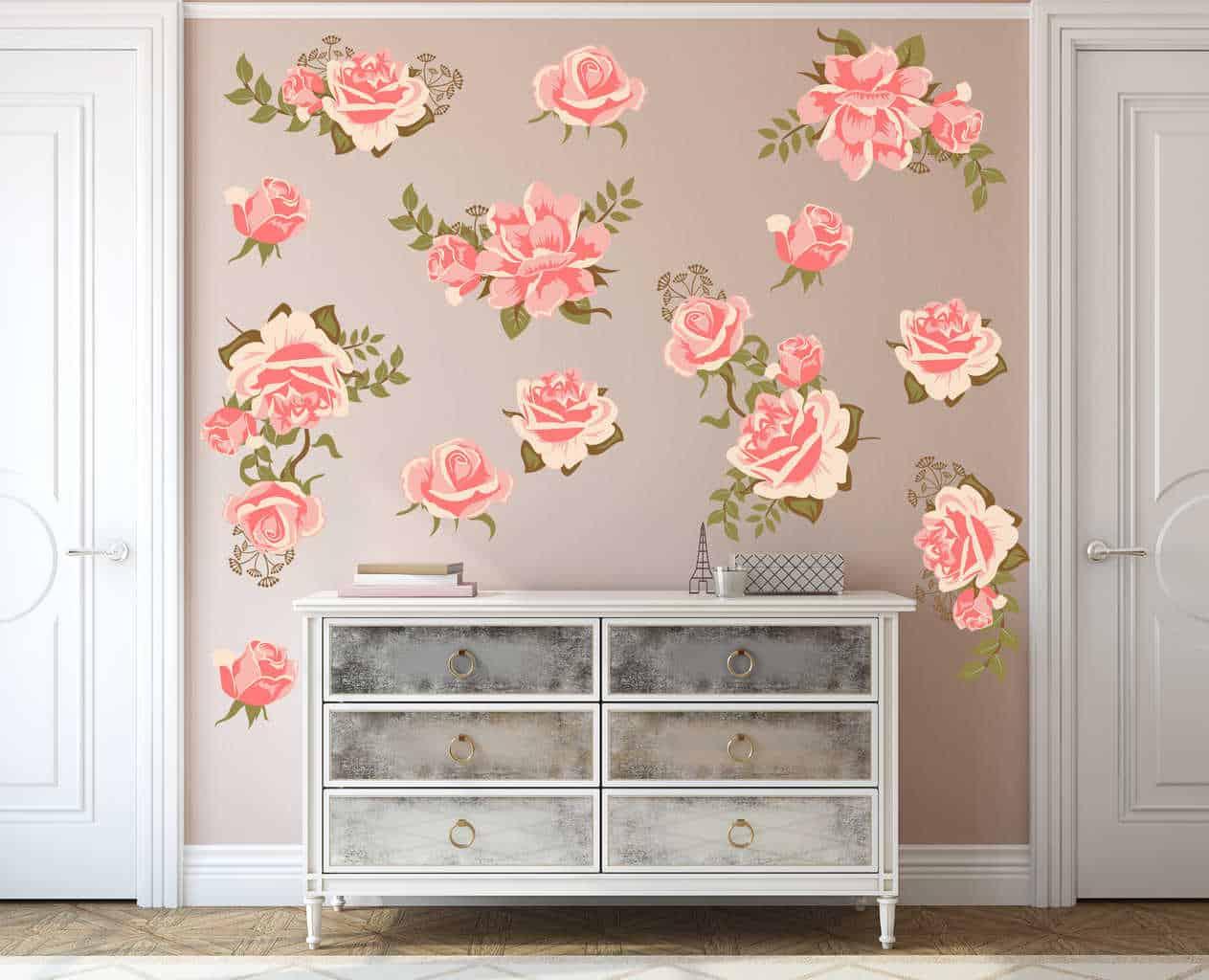 adbb745fe0 Pink Rose Flower Wall Decal Set Pink Rose Flower Wall Decal Set, Pretty  Pink Graphic Flower Wall Decal Set, ...
