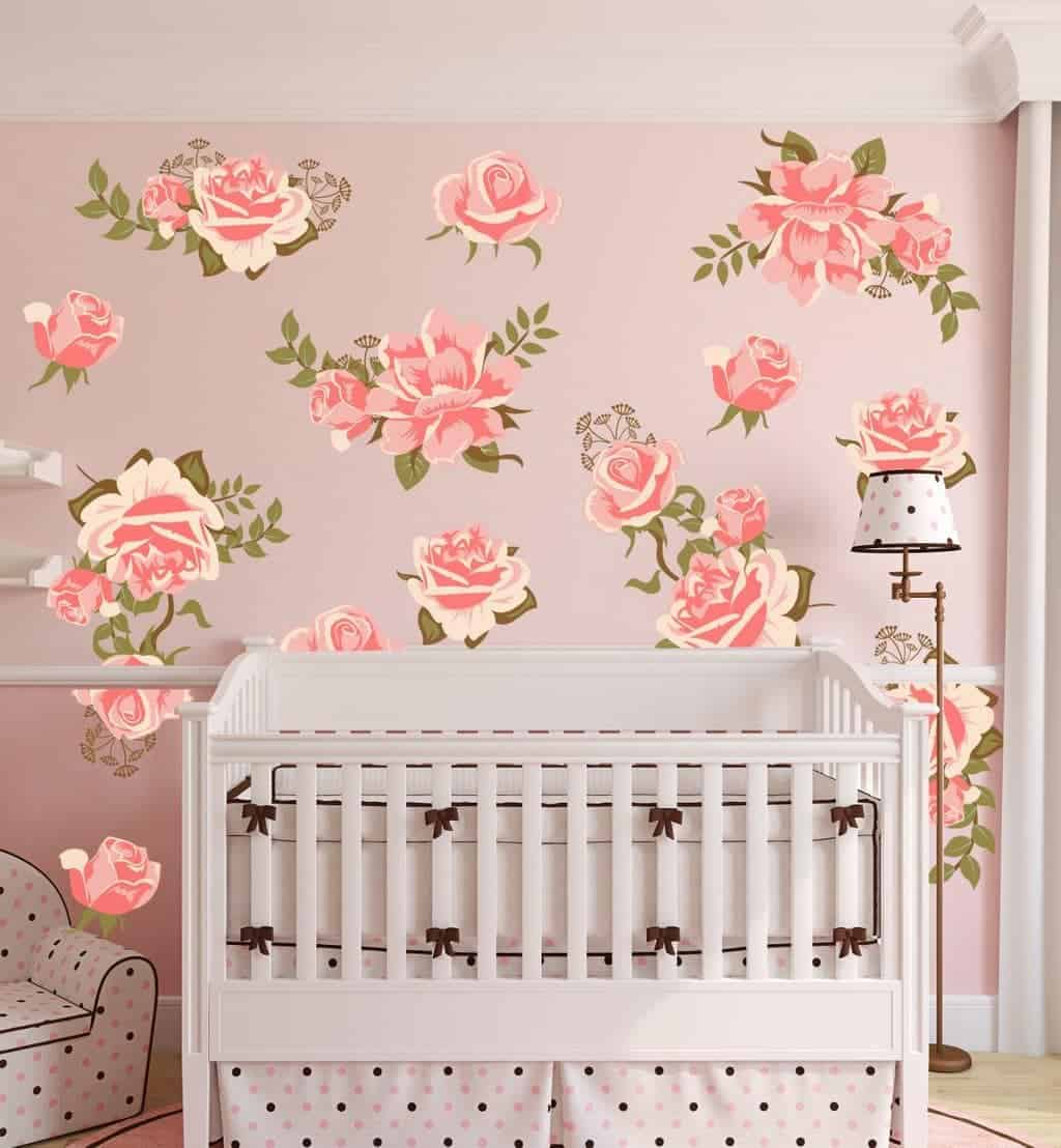 Pink Rose Flower Wall Decal Set