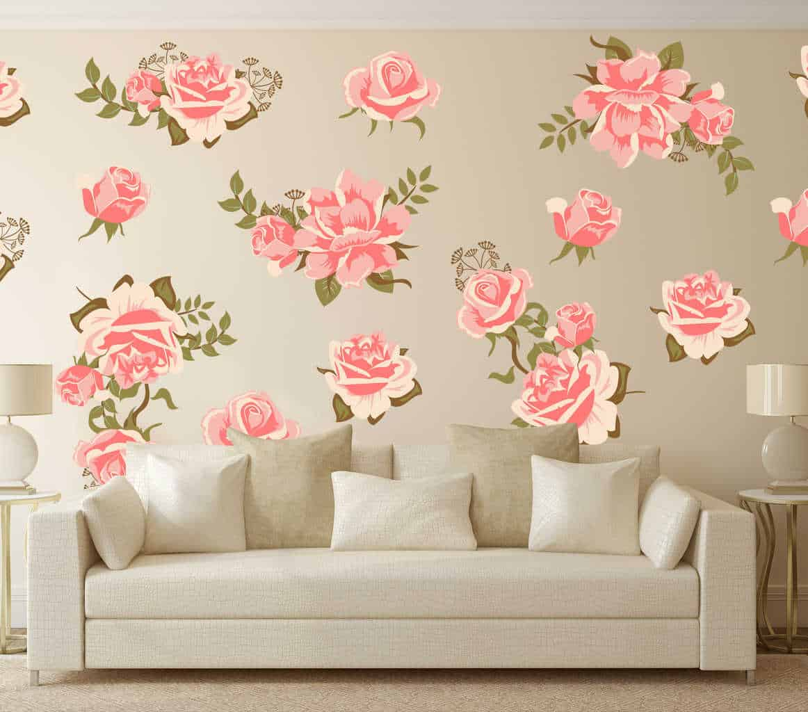 Pink rose flower wall decal set now available at eydecals pink rose flower wall decal set pretty pink graphic flower wall decal set wall mightylinksfo