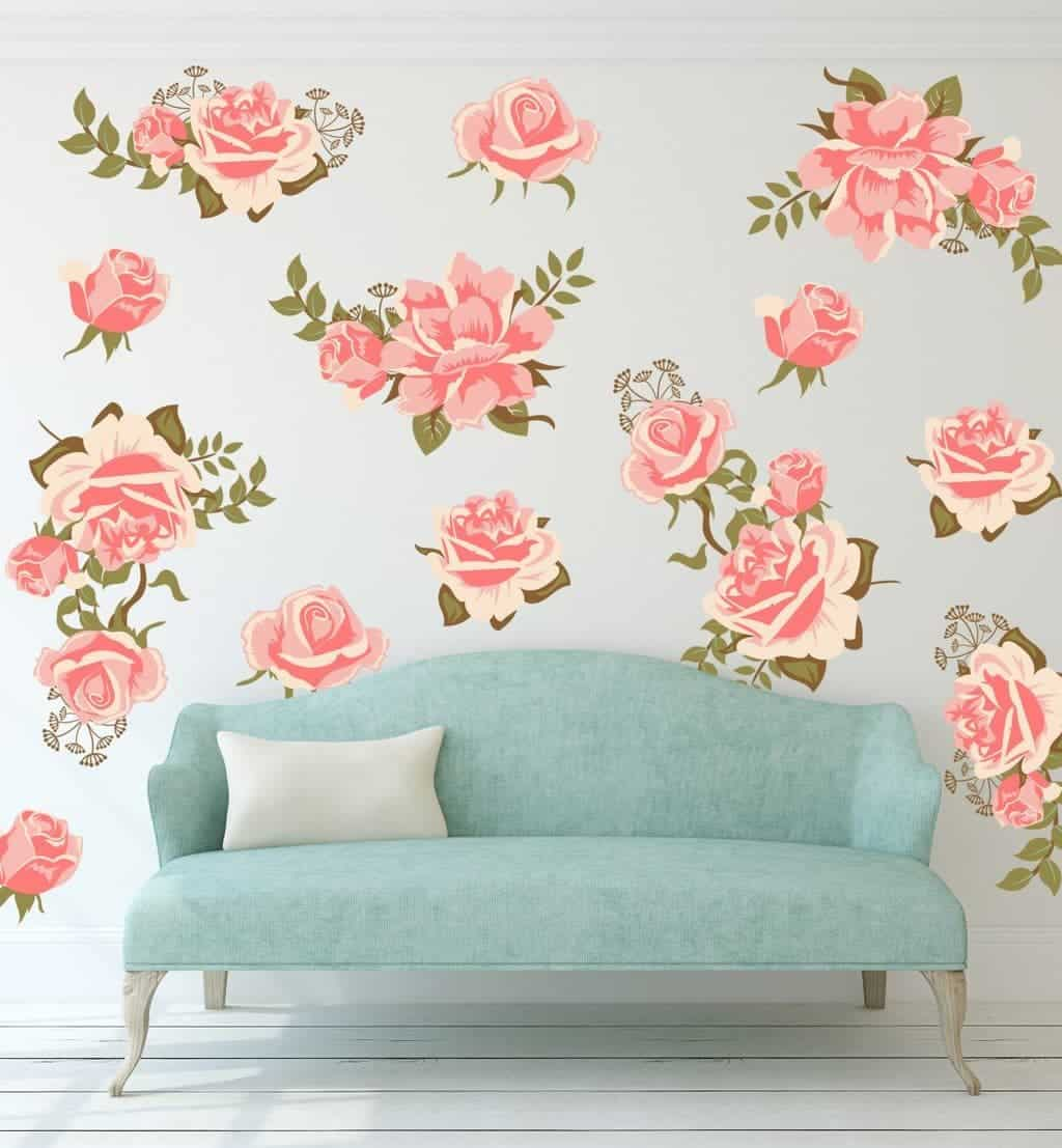 Pretty Pink Graphic Flower Wall Decal Set, wall decal, wall sticker, wall decals ireland, flower wall stickers,