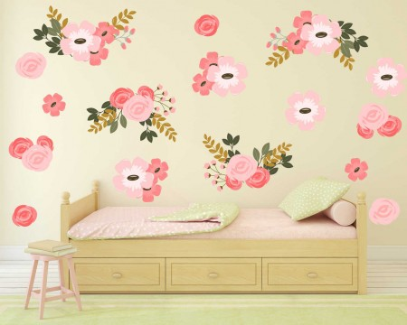 Pretty Pink Graphic Flower Wall Decal Set, wall decal, wall sticker, wall decals ireland, flower wall stickers, large flower wall stickers, flower wall stickers for bedrooms flower, wall stickers for living room