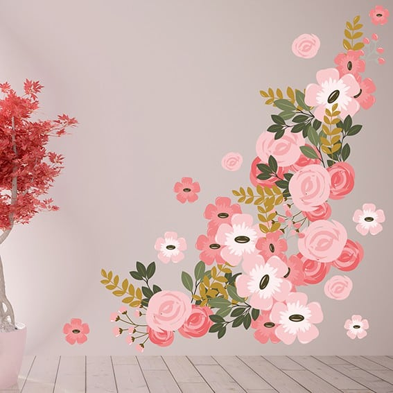 Pretty Pink Graphic Flower Wall Decal Set