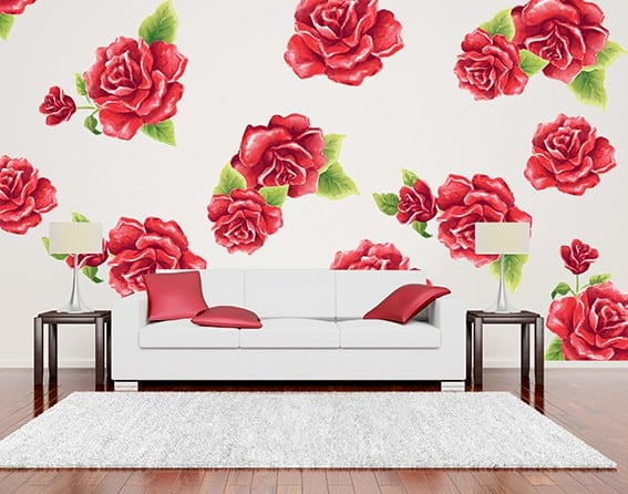 Red Rose Flower Wall Decal Set, flower wall decal, flower wall sticker, rose wall decal, rose wall sticker