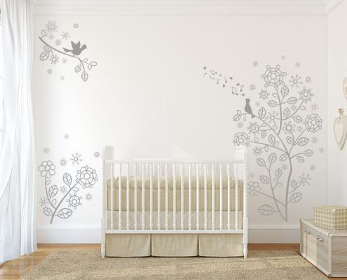 Flower Vine Bird Branches Wall Decal, Flower Vine Branches Wall Decal, Decal, , Elegant tree Wall Decal, Baby Nursery wall decal, Wall Art Baby Wall Decals, Baby Nursery decal,