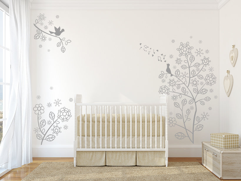 Flower Vine Bird Branches Wall Decal, Flower Vine Branches Wall Decal, Decal, , Elegant tree Wall Decal, Baby Nursery wall decal, Wall Art Baby Wall Decals, Baby Nursery decal,