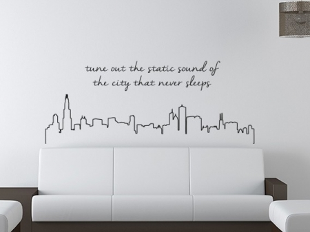 City Never Sleeps Wall Decal, city wall decal, city skyline wall decal, skyline wall sticker, wall decals ireland