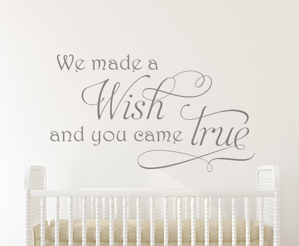 We Made a Wish Wall Decal Sticker, wall decal quote sticker, wall decals Ireland, wall quote, baby wall decal, nursery wall decal, nursery wall sticker, beautiful wall decals