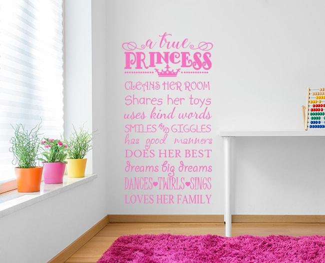 A True Princess Wall Decal Sticker, PRINCESS WALL STICKER, girls room wall decal, princess wall decal