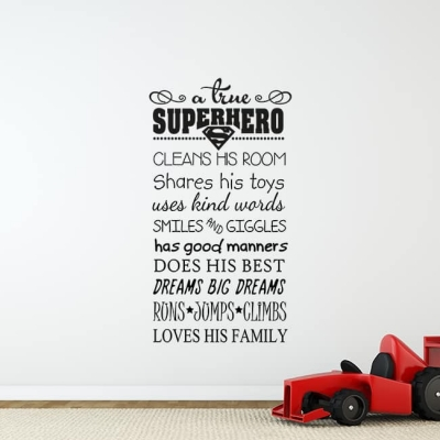 A True Superhero Wall Decal Sticker, superhero rules