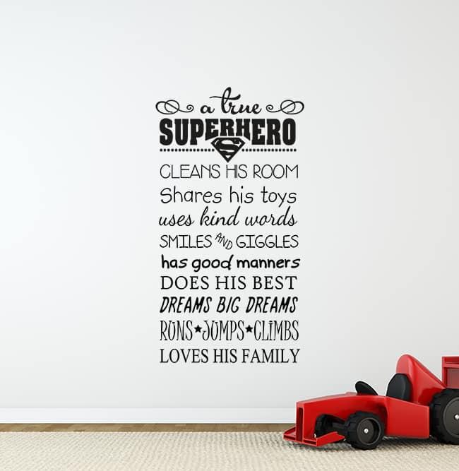 A True Superhero Wall Decal Sticker, superhero rules