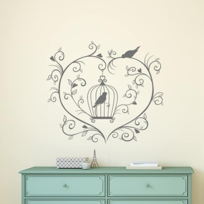 Bird Cage Heart Wall Decal