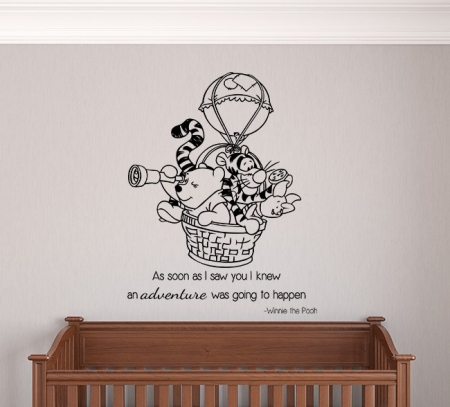 Winnie the Pooh Hot Air Balloon Adventure Wall Decal, winnie the pooh wall sticker, winnie the pooh wall decal, nursery wall decal sticker, Winnie the Pooh Wall Decals