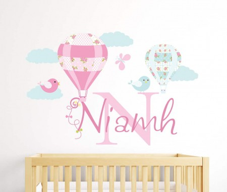 Hot Air Balloon Name Wall Decal