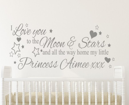 I Love You to the Moon Princess Wall Decal