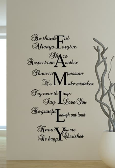 Family Be Thankful Wall Decal Sticker