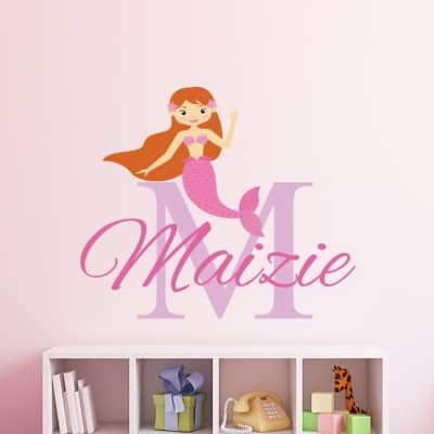 Personalised Mermaid Name Wall Sticker