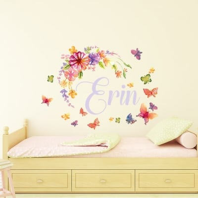 Personalised Watercolour Flower Butterfly Name Wall Sticker