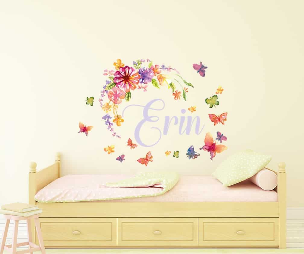 designer wall decals stickers amazing quality unique designs personalised watercolour flower butterfly name wall sticker