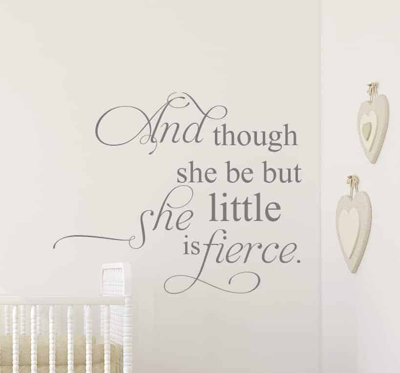 And though she be but little Wall Decal, girls room wall decal, wall sticker for nursery