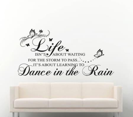 Dance in the rain wall decal sticker