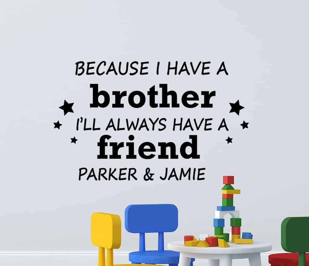 Brother Friend Personalised Wall Decal Sticker