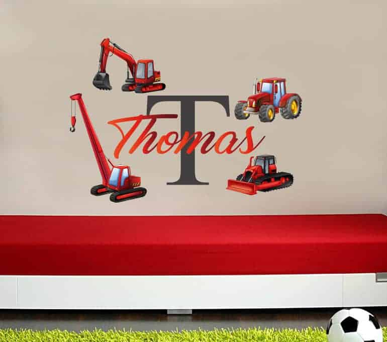 Personalised tractor digger name wall decal
