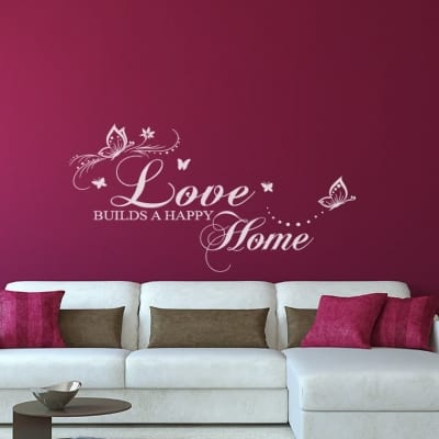 Love Builds a Happy Home Wall Decal