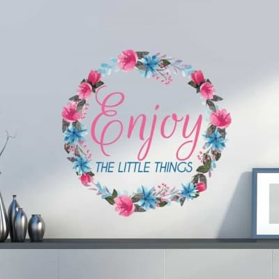 Floral Wreath Enjoy The Little Things Wall Decal