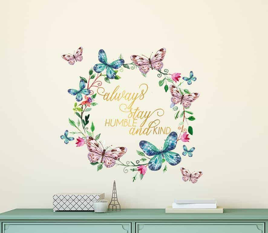 Butterfly Wreath Humble and Kind Wall Decal