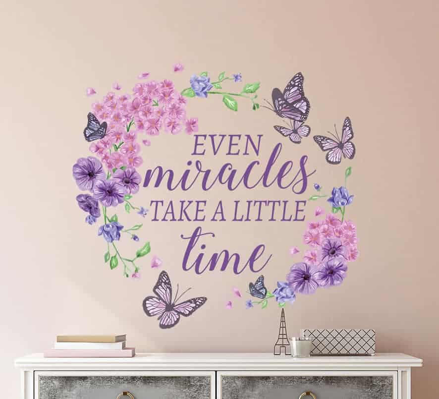Floral Butterfly Wreath Miracles Wall Decal