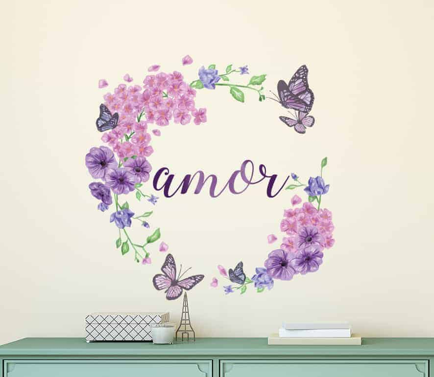 Floral Butterfly Wreath Amor Wall Decal