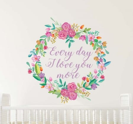 Floral Wreath Love You More Wall Decal