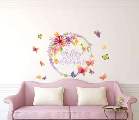 Floral Butterfly Wreath Follow Your Dreams Wall Decal