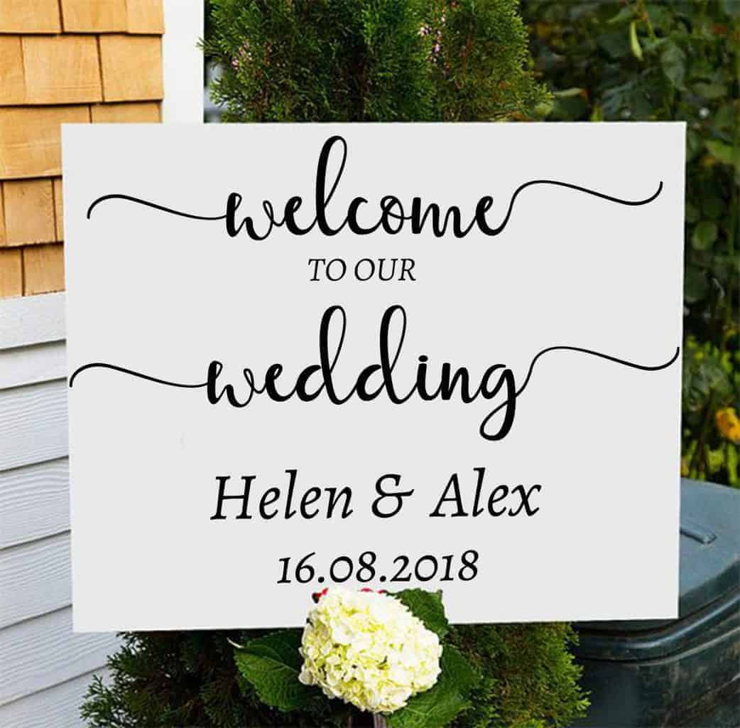 Wedding Sign Decal Welcome to our Wedding