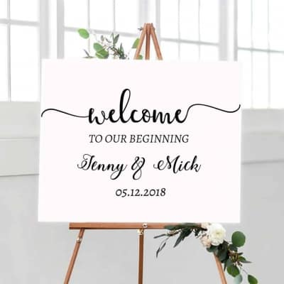 Wedding Sign Decal Our Beginning