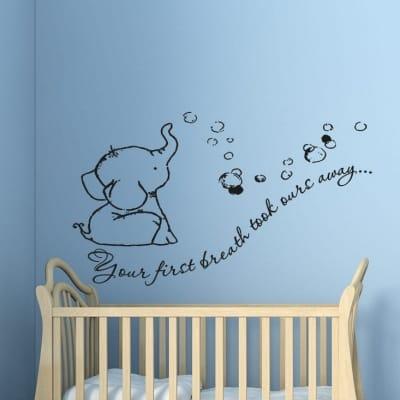 Baby Elephant First Breath Wall Decal