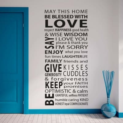 House Rules Blessed With Love Wall Decal Sticker