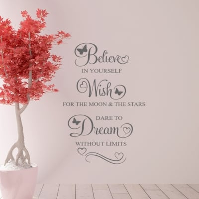 Believe Wish Dream Wall Decal Sticker