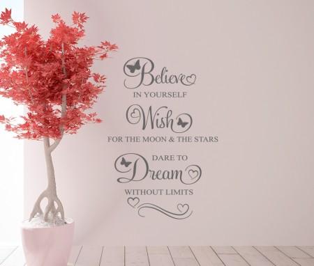 Believe Wish Dream Wall Decal Sticker