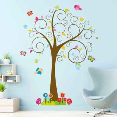 Cute Bird Swirl Tree Wall Decal