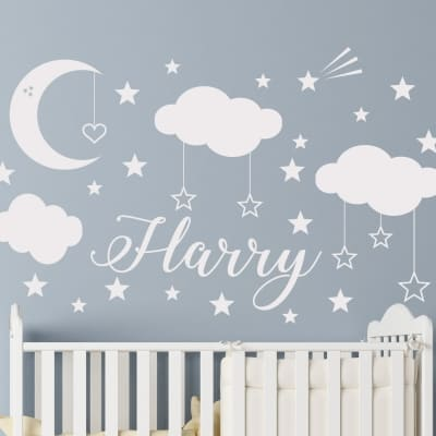 Moon and Stars Personalized Wall Decal