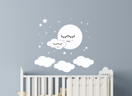 Sleepy Moon and Clouds Wall Decal